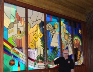 David Schlicker explains stain glass window 2