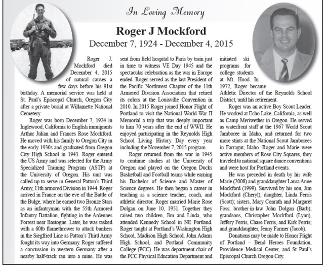 Roger J Mockford Obituary Portland Tribune