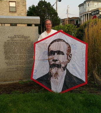 Jim and Rokkaku kite at Ranald MacDonald Birthplace Monument